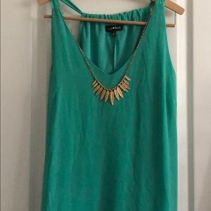 Gorgeous green dress with attached necklace L